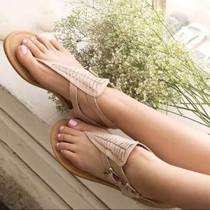 Shoes - Taupe T Strap Sandal